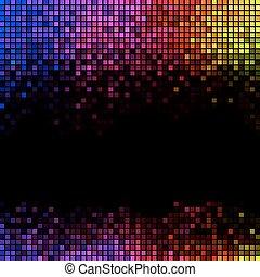 馬賽克, 象素, 廣場, 摘要, 光, 迪斯科, multicolor, 背景。