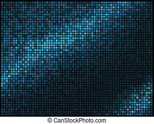 馬賽克, 象素, 廣場, 藍色, 摘要, 光, 迪斯科, multicolor, 矢量, 背景。