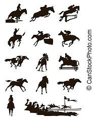 馬, 插圖, 背景。, 黑色半面畫像, 矢量, 黑色, 白色