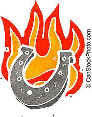 馬, 燃燒, 鞋子, 幸運, 卡通