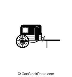 馬, 矢量, 老, 車