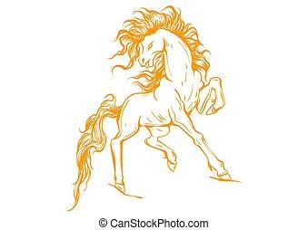 馬, 矢量, 黑色半面畫像, 跑, 插圖