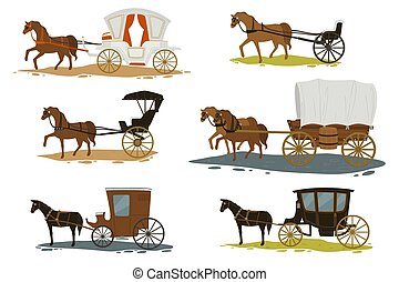 馬, 過去, 車, 矢量, 運輸