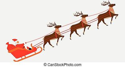 馴鹿, 拉, 插圖, 克勞斯, christmass, 聖誕老人