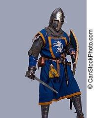 騎士, 中世紀, 灰色, 背景。