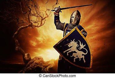 騎士, 在上方, 中世紀, 有暴風雨, sky.