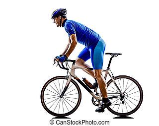 騎車者, 黑色半面畫像, 自行車, 路, 循環