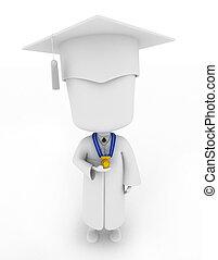 驕傲地, 顯示, 他的, 獎章, 畢業生