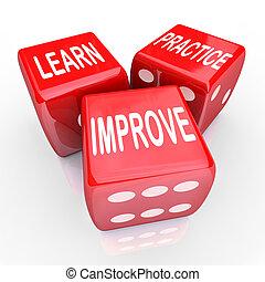 骰子, 實踐, 3, 詞, 學習, 紅色, 改進