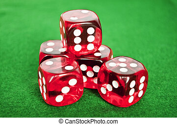 骰子, 背景, 集合, 綠色, 賭博