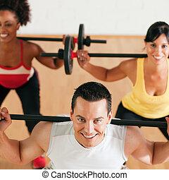 體操, barbell, 組, 健身