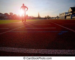 體育場, 人跑, 運動員, training., 馬拉松, 衣服