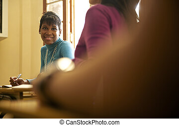 高中, 婦女, 考試, 學生, 年輕, 教育, 黑色, 肖像, 在期間