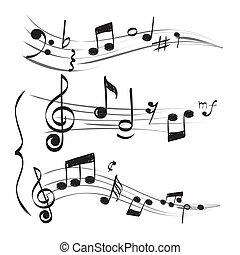 高音, 概念, 心不在焉地亂寫亂畫, 注釋, note., muzician, 手, 矢量, 圖片, 畫, 譜號, 音樂的人員