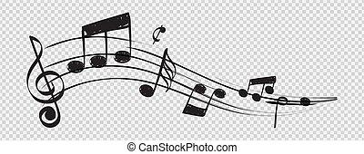 高音, 概念, 注釋, 音樂家, 被隔离, 音樂, 矢量, 背景, note., 譜號, 透明, 人員
