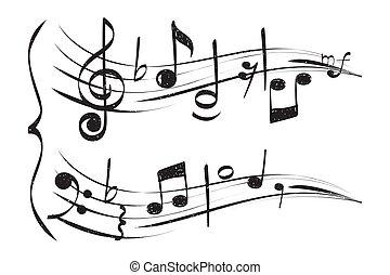 高音, 注釋, 音樂家, 被隔离, 手, 矢量, 背景, note., 畫, 白色, 譜號, 音樂的人員