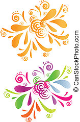 鮮艷, -, 二, 漩渦, 設計, 橙