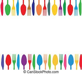 鮮艷, 刀叉餐具, 背景