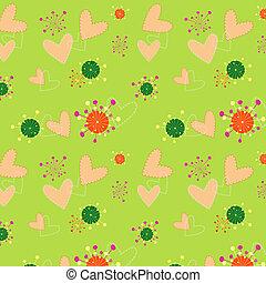 鮮艷, 圖案, 牆紙, seamless, 插圖, 植物, 心
