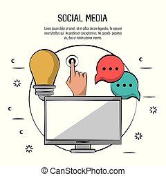 鮮艷, 圖象, 媒介, 社會, 海報, 台式計算机, 演說, 光, 接觸, 燈泡, 環繞, 手, 氣泡