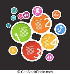 鮮艷, 圖象, 紙, infographic, 樣板, 環繞, 技術