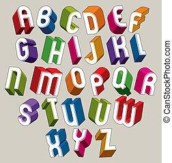 鮮艷, 字母表, 信件, 尺寸, 矢量, 洗禮盆, 幾何學, 3d