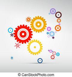 鮮艷, 嵌齒輪, 摘要, -, 矢量, 齒輪