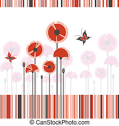 鮮艷, 摘要, 條紋, 背景, 罌粟, 紅色