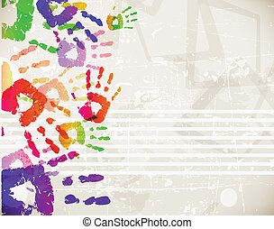 鮮艷, 摘要, handprint, 設計, retro, 樣板