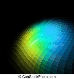 鮮艷, 摘要, space., 黑色的背景, 模仿, 馬賽克