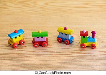 鮮艷, 木制的玩具, blocs, 訓練