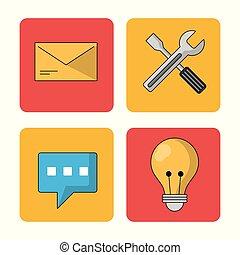 鮮艷, 氣泡, 演說, 背景, 光, 郵件, 白色, 正方形, 工具, 燈泡