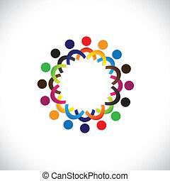 鮮艷, 社區, 概念, 玩, 友誼, 雇員, 人們, 社會, 顯示, 矢量, &, 協會, 差异, 分享, icons(symbols)., 孩子, 工人, 插圖, graphic-, 相象, 概念, 等等