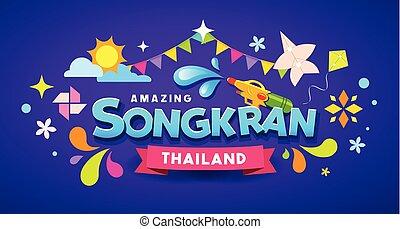 鮮艷, 節日, songkran, 惊人, 設計, 泰國, 消息, 愉快