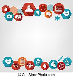鮮艷, 背景, icons., vector., 醫學