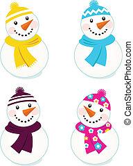 鮮艷, 雪人, 被隔离, 漂亮, 彙整, 矢量, 白色