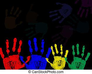鮮艷, 黑色, 被隔离, 列印, 手
