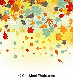 鮮艷, leaves., eps, 秋天, backround, 8, 被下跌