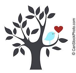 鳥, 愛, 樹