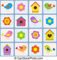 鳥, birdhouses., 圖案, seamless, 矢量, 花
