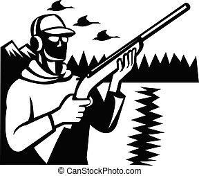 鴨子, 射擊者, 獵槍, 白色, retro, 步槍, 獵人, 鳥, 黑色, 射擊