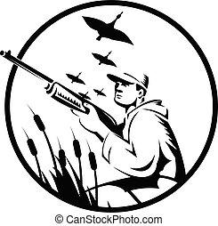 鴨子, 射擊者, 白色, 黑色的圓, 獵人, 步槍, 或者, retro, 鳥