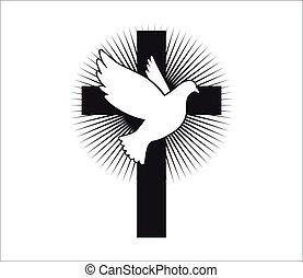 鴿, 符號, peace., 飛行, vector., cross., 教堂, spirit., 神圣, logo., religion.