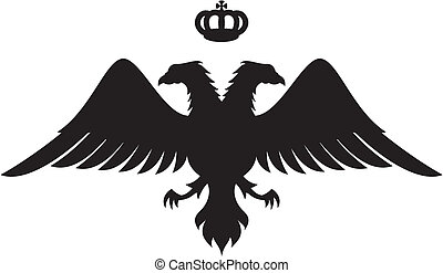鷹狀標飾輪廓, 朝向, 雙, 王冠, 矢量