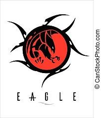 鷹, 大, tribal., 黑色, 鋒利, 爪, 環繞, 紅色