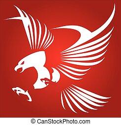 鷹, 白色, falcon., 鷹