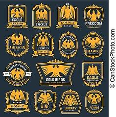 鷹, 紋章學, heraldic, 圖象, 符號, 鷹, 鳥