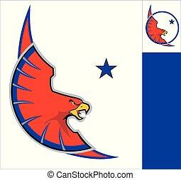 鷹, 鷹, 白色紅, 環繞, mascot.