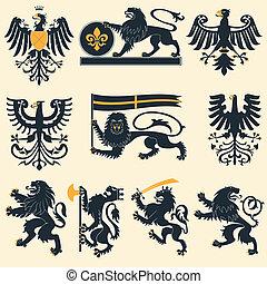 鷹, heraldic, 獅子