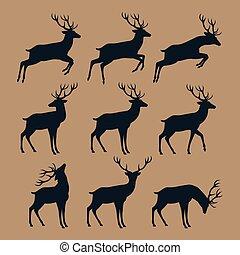 鹿, 集合, 黑色半面畫像